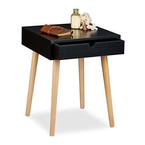 Relaxdays Table de chevet ARVID table de nuit console avec tiroir table appoint en bois HxlxP: 50,5 x 40 x 40 cm style nordique design scandinave, noir