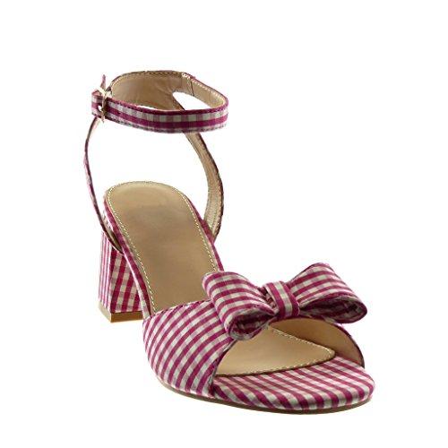 Angkorly Chaussure Mode Sandale Mule Lanière Cheville Femme Vichy Noeud Lanière Talon Haut Bloc 7 cm Fuschia