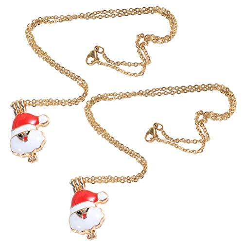 Healifty Aromatherapie Halskette Weihnachtsmann Halskette Anhänger Parfüm Ätherisches Öl Diffusor Medaillon Frauen Halskette Dekoration 8st (Halsketten öl Diffusor)