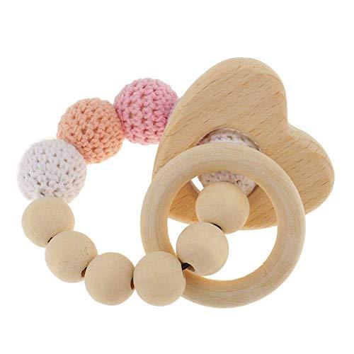 Nrpfell 1 STK Parel Perle Beissringe aus Holz Saeugling Rassel Spielzeug Baby Zahnen Zubehoer - Mehrfarbig - Herz