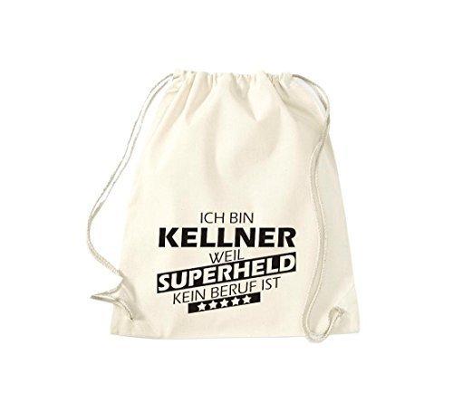 shirtstown BORSA PALESTRA Ich bin Kellner, WEIL supereroe NESSUN occupazione è - grigio, 37 cm x 46 cm naturale