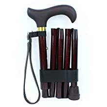 NRS Healthcare Red Check Folding Walking Stick (Eligible for VAT relief in the UK)