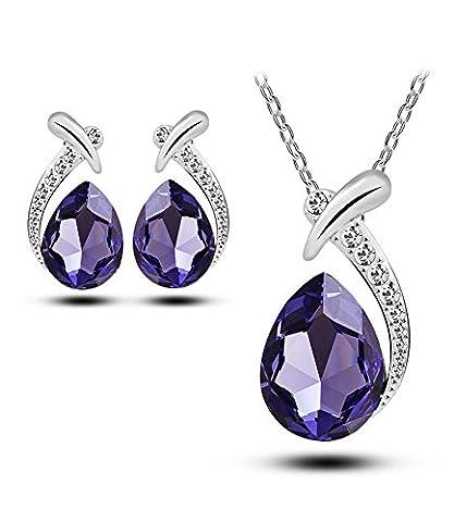 Celebrity Jewellery Purple Water Drop Austrian Crystal Stud Earrings and Necklace Jewellery Set for Women