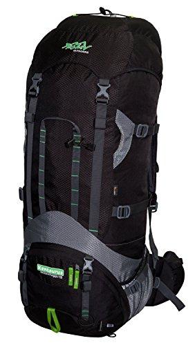 Trekkingrucksack aus Cordura® TASHEV KENTAURUS 80 + 15 Liter Zusatzvolumen (Schwarz-Grün)
