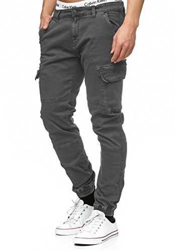 Indicode Herren August Cargo Cargohose Pants Chino Hose Stoffhose aus Stretch-Material Regular Fit Raven L -
