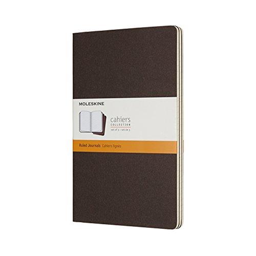 Moleskine Cahier Large, A5, 3er Set, Liniert, Kartoneinband, Kaffeebraun