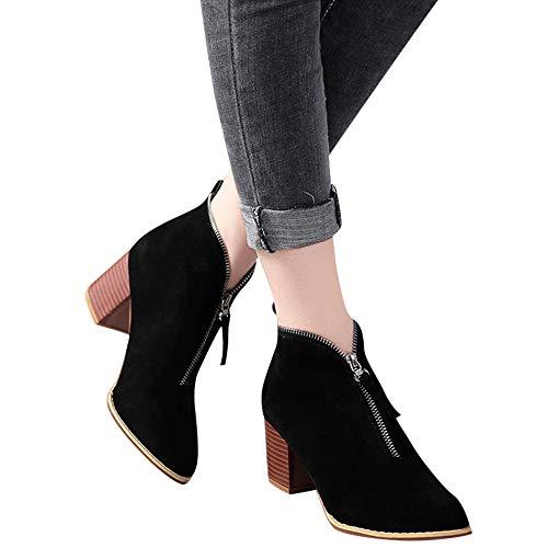 ABsoar Stiefel Damen Frauen Schuhe Fashion Ankle Boots Solide Leopard Reißverschluss Martin Bootie Kurze Stiefel Herbst Stiefeletten Outdoor Kunstleder Schlupfstiefel