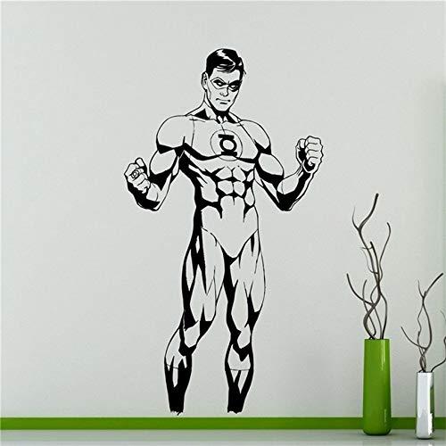 zhuziji Green Lantern Superhero Wandaufkleber Vinyl Aufkleber Kunst Dekor Wohnkultur Kinderzimmer Entfernbarer Wandaufkleber weiß 41 X 75 cm