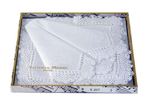 Damen Weiße Taschentücher Baumwolle (Zwei weiße Taschentücher mit breitem, weißem Häkelrand in einer schönen Geschenkpackung)