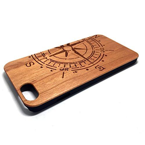 Custodia iPhone 6/6S, Natura Legno Custodia Wood back Cover Hard PC Bumper Protettiva Case Per Apple iPhone 6/6S(4.7 Pollici)Smartphone - Wooden Cover(Middle finger) Cherry compass