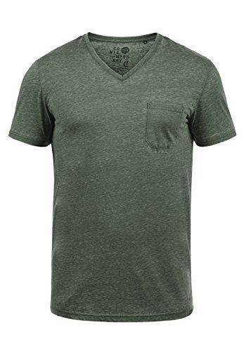 !Solid Theon Herren T-Shirt Kurzarm Shirt mit V-Ausschnitt, Größe:S, Farbe:Climb Ivy (3785)