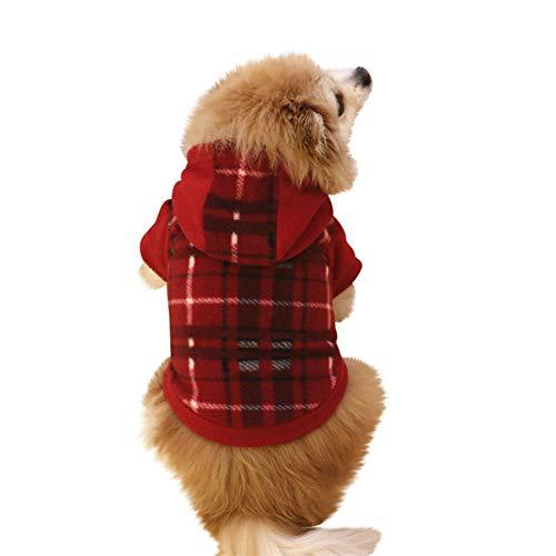 Zolimx Hunde Haustier Kleidung hundemantel Hoodie Warmer Fleece-Welpen-Mantel-Kleid (M, Rot) -