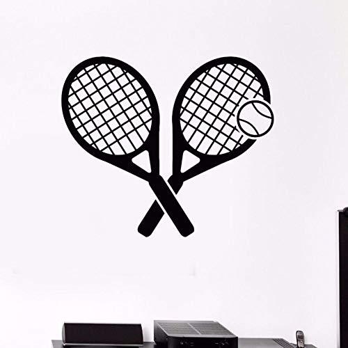 woyaofal Tennis Sport Wandtattoo Vinyl Tennis Sport Spiel Wand s Sport Room Decor Tennis Ball Wand Kunst Wandbild Gym 42x36 cm