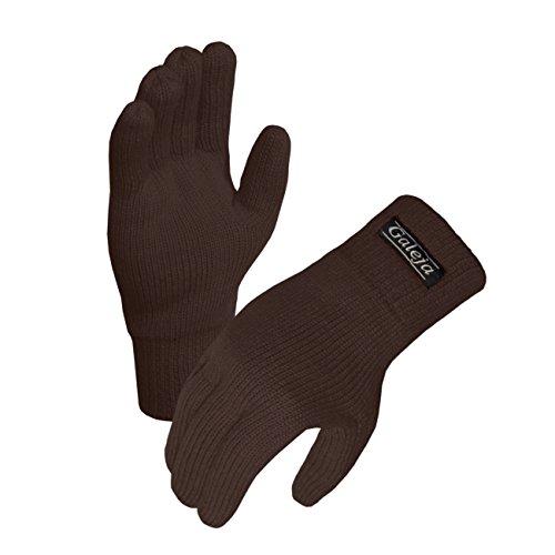 Galeja Herren Handschuhe Thinsulate Fleecefutter Fingerhandschuhe isoliert Gr. 9/10 Farbe Braun Strickhandschuhe Funktionshandschuh