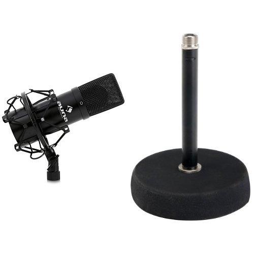 """Auna MIC-900B USB Kondensator Mikrofon für Studio-Aufnahmen inkl. Spinne (16mm Kapsel, Nierencharakteristik, 320Hz - 18KHz) schwarz + Pronomic MST-10 BK Mikrofon Tischstativ Tischmikrofon Stativ Ständer (für 3/8\"""" Gewinde, Gusseisener Fuß) schwarz Bundle"""