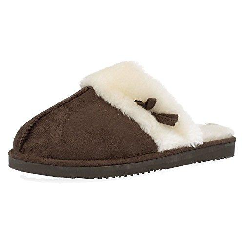 Damen Jyoti Maultier Slippers mit Pelz Manschette and Bow 3 4 5 6 7 8 UK Braun