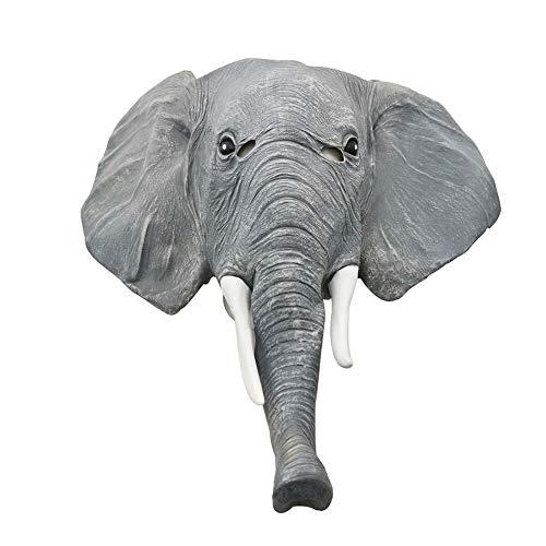 Layla Store Máscara De Elefante De Halloween, Animal Látex Máscaras De Cabeza De Elefante para Accesorios De Halloween Disfraz Cosplay Máscara De Fiesta,Gris