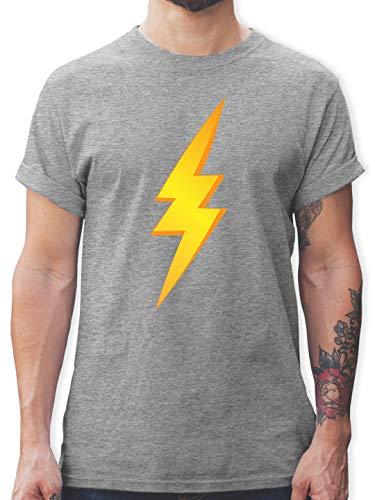 Karneval & Fasching - Blitz Kostüm - S - Grau meliert - L190 - Herren T-Shirt und Männer - Blitz Mann Kostüm
