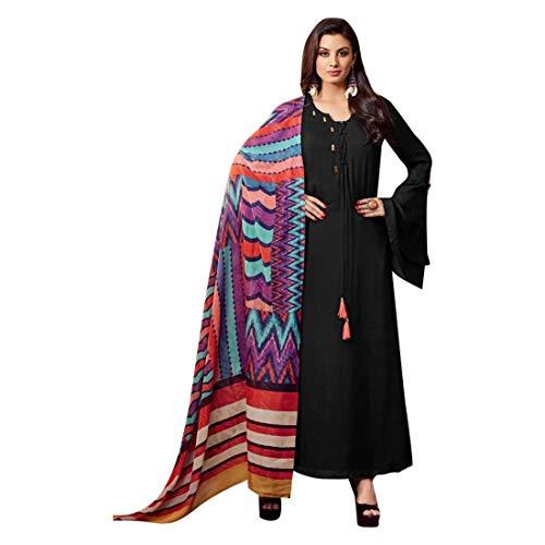 Rayon Abaya Style Salwar Kameez Anzug in schwarz gebrauchsfertig Pakistani Kurti indische Frauen 7519