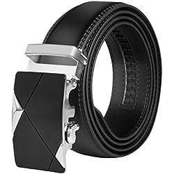 HBF Cinturón Hombre Automático Cinturón Hombre Cuero Longitud 120 cm Ancho 3.5cm CinturonNegro Con Hebillas Metal (Negro)