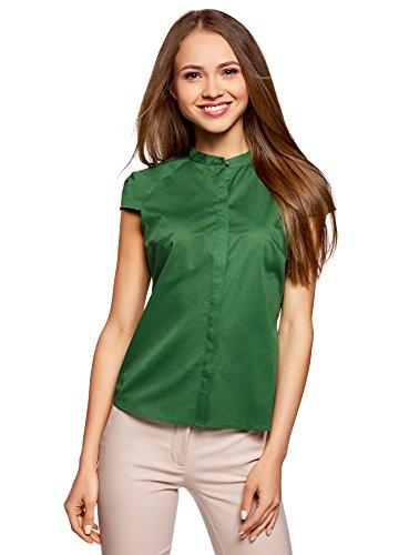 Oodji ultra donna camicia in cotone con maniche corte, verde, it 44 / eu 40 / m