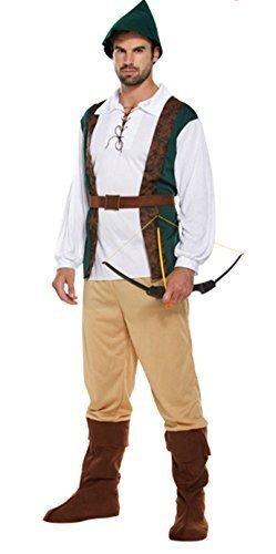 Herren Deluxe Robin Hood Peter Pan Mittelalter Kostüm Erwachsene Outfit + Hut