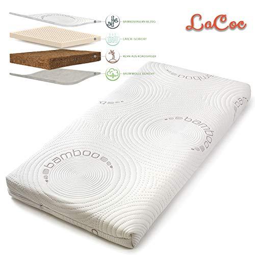 NATURECA Kindermatratze Babybett matratze Orthopädische matratze Kinderbett Latexmatratze mit Kokoskern Matratzenbezug aus Bambusfasern (70 x 130 cm)