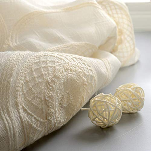 Cerchio rotondo ricamo tende trasparenti poliestere filato base bianco tenda finita tulle tende per soggiorno la camera da letto tende da finestra pannello singolo hook-1panel(300*270cm)