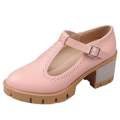 TAOFFEN Damen Elegant T-Spange Blockabsatz Pumps Mit Schnalle 454 Pink