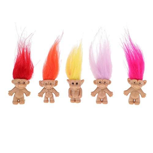 Jjek Miniatur Magie Elf Kunststoff Troll Puppe Indien Ugly Kind Retro Spielzeug Multicolor Haar