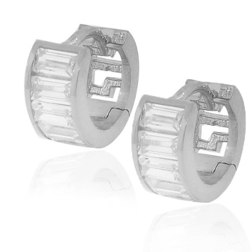 925 Sterling Silver White Baguette CZ Womens Hoop Huggie Earrings
