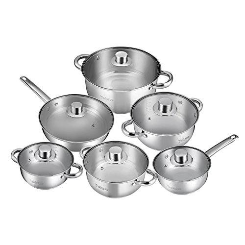 Velaze Cookware Set, Series Motti, 12-Piece Stainless Steel Pot & Pan Sets, Induction Safe, Saucepan, Casserole, Casserole, pan with Glass lid (Set of 12)