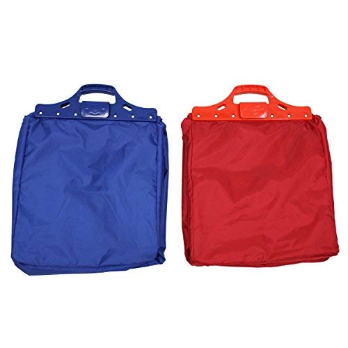 JVL-Carrito de la Compra Reutilizable Bolsas, Azul/Rojo, Juego de 2