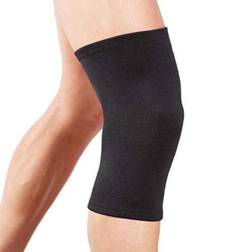 Actesso Órtesis rodillera tubular Compresión elástica para alivio del dolor durante el ejercicio o después de una lesión (Mediana, Negro)
