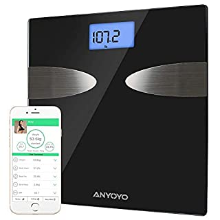 Weighing Scales ANYOYO Bluetooth Body Fat Scale with iOS and Android App Smart Digital Bathroom Scales Healthy Analyzer for Body Weight,Body Fat,Body Water,Bone Mass,Muscle Mass,BMI,BMR,Visceral Fat