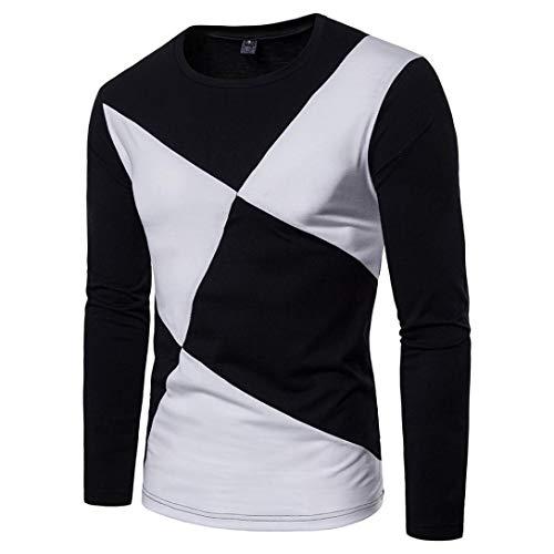 Herren Oberteile,TWBB Schwarz Weiß Patchwork Fit Sweatshirt Pullover Oberteile Lange Ärmel Shirt Casual Tops