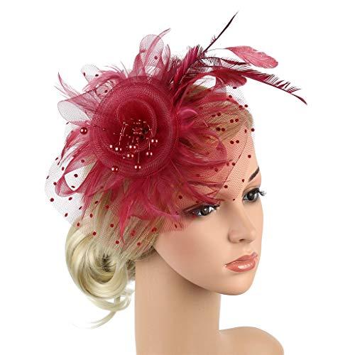 Malloom Dame Vintage Kopfstück Feder Haar Zubehör mit Clip & Stirnband, Elegant Haarschmuck für Cocktail Party Hochzeit Braut Kopfschmuck