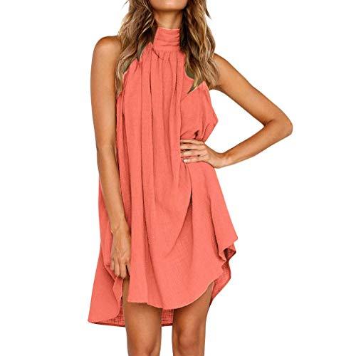 KIMODO Damen einfarbig unregelmäßiges Kleid Frauen ärmelloses Minikleid Partykleid Urlaub Strand Sommerkleid Drape Applique