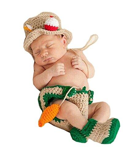 JT-Amigo Baby Kostüm für Neugeborenen Fotoshooting, Angler Kostüm, 0-1 (Fisch Kostüme 2 1 Fisch)