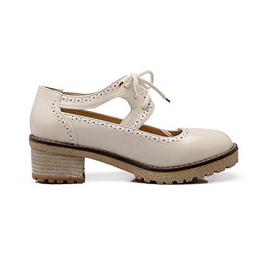 AllhqFashion Femme Lacet à Talon Correct Pu Cuir Couleur Unie Rond Chaussures Légeres Beige