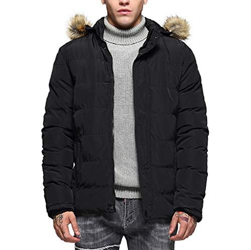 Manalian Herren Jacke Parka Schwarz Mäntel Winter Mode Kapuzenpullover Pure Farbe Verdickt Baumwolle Gepolstert Jackenmantel für Männer