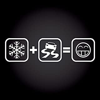 Schnee + Drift = Fun Smiley Aufkleber 20,0 cm x 5,2 cm JDM OEM Tuning Sticker Decal 30 Farben zur Auswahl