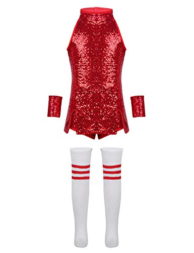 Tiaobug Mädchen Cosplay Kostüm Set Tanzkleid Outfits ärmellos Top + Hot Pants + Armband + Socken Kinder Hip-Hop Jazz Cheer Leader College Strümpfe Rot ()
