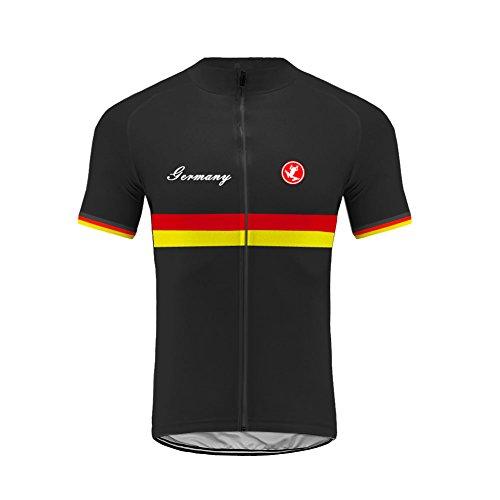 Uglyfrog Germany Flag Streifen Designs Herren Kurzarm Radtrikot Fahrradtrikot Fahrradbekleidung für Männer mit Elastische Atmungsaktive Schnell Trocknen Stoff -