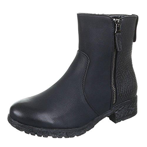 Damen Schuhe, H362, STIEFELETTEN Schwarz