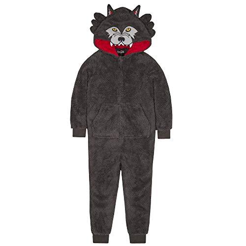 ONEZEE Jungs Neuheit Tier Kapuze Snuggle Fleece Strampelanzug (9-10 Jahre, Wolf) (Strampelanzug Herren Wolf)