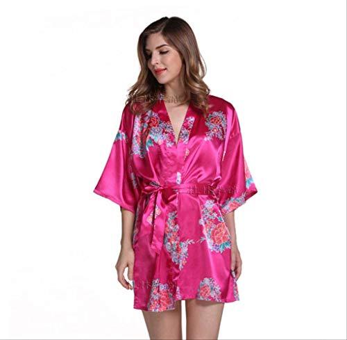 VFJLR 2020 Vestido de Bata de satén Sexy para Mujer Vestido Elegante Camisones Estampados Kimono Albornoz...