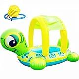 ZH1 Planschbecken Aufblasbarer Schwimmring, Turtle Shade Seat Kinderspielwasser-Sitz für Kinder...