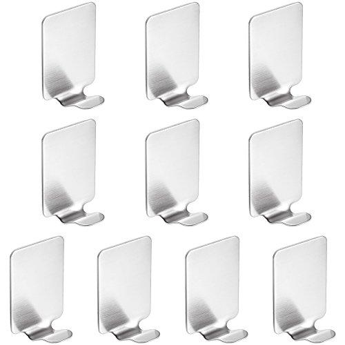 4l Bad Möbel (Rovtop 10 Stück selbstklebend Haken Wasserdichte 304 Edelstahl Haken für Küche Badetücher etc. Silber)