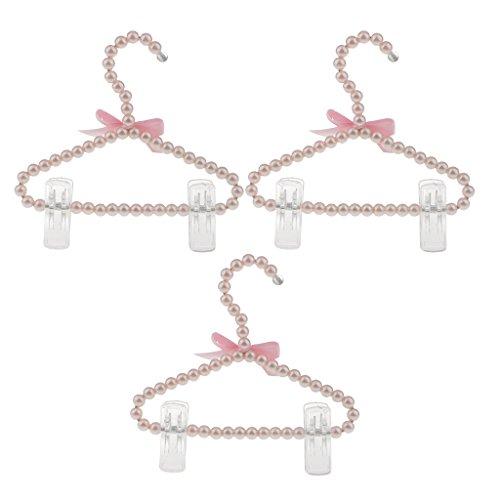 cm Perlen Kleiderbügel mit Hosenstange Hosenhalter für Kinder Mädchen, Rosa (Baby-boutiquen Online)